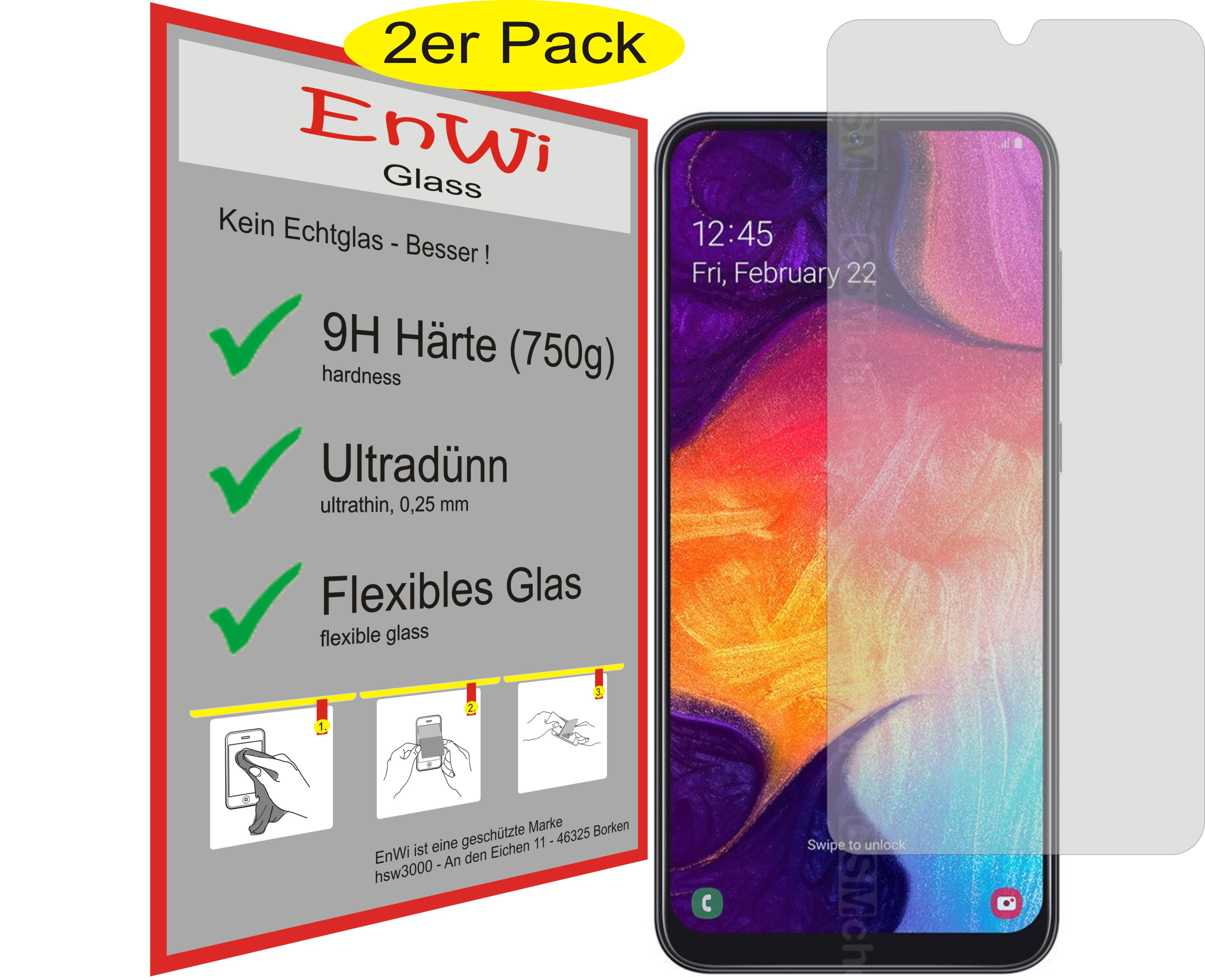 2x EnWi Glass Displayschutzfolie Panzerfolie 9H für Samsung Galaxy A50